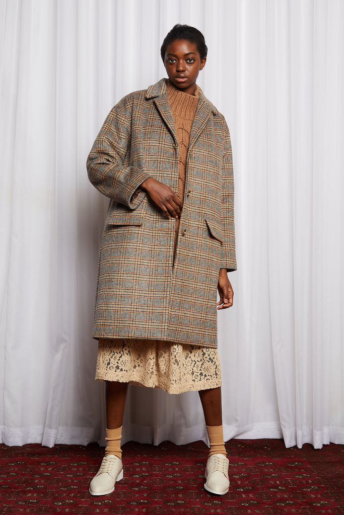 LYNCH COAT - WARM BROWN CHECK WOOL