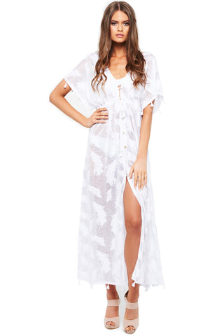 'KELSEY' FEATHER MAXI DRESS, WHITE & ASH