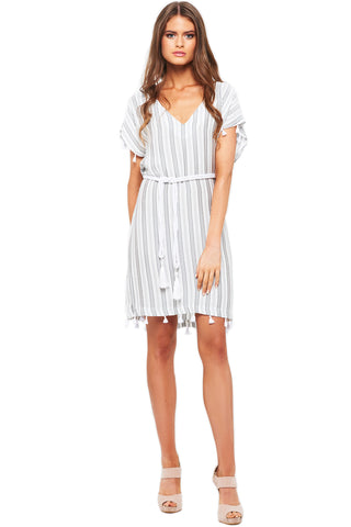 'KIARA' STRIPE DRESS WITH ROPE BELT