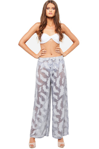 'LENAH' BEACH PANT, TEXTURED FEATHERS, ASH