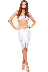 'EVIE' SARONG, TEXTURED FEATHERS, WHITE