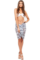 'EVIE' SARONG, TEXTURED FEATHERS, ASH