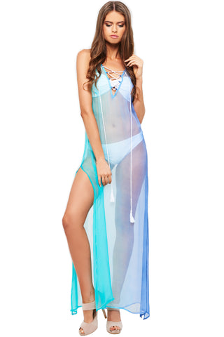'KAELYN' BEACH DRESS, BLUE/JADE OMBRE
