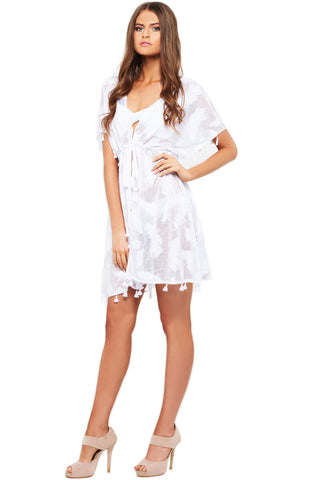 'KELSEY' FEATHER DRESS, WHITE