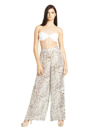 'LENA' Resort Pant with Lace Trim, Serpent Print