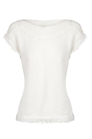 'ISLA' Knit Top with Lace, Off-White
