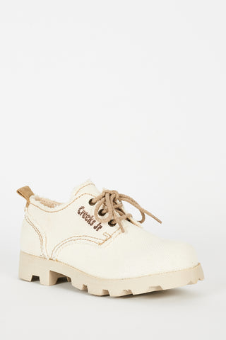 Beige Sporty Shoes With Lace Up Ex-Branded