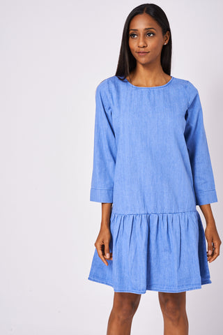 Dropped Waist Denim Dress in Washed Blue Ex-Branded