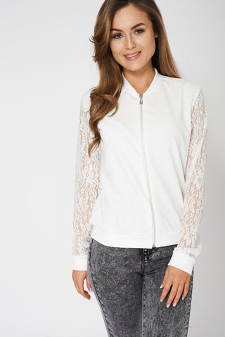Light Cream Lace Sleeves Top Ex-Branded