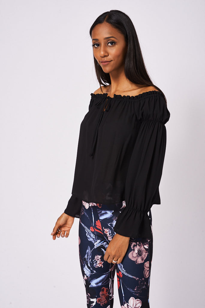 Black Off Shoulder Top Ex-Branded Available In Plus Sizes