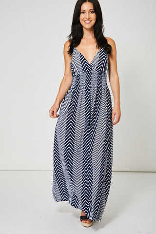 Navy And White Maxi Dress