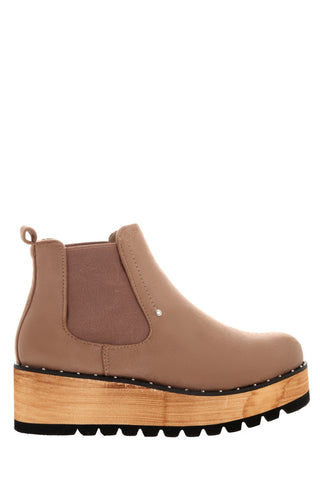 Mocha Suedette Ankle Boots With Faux Wooden Wedge