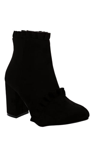Black Faux Suede Ankle Boots With Ruffle Detail