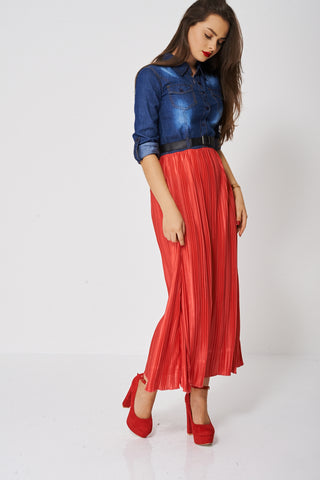 Denim Top Maxi Dress With Pleated Skirt Ex-Branded
