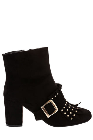 Black Faux Suede Ankle Boots With Studded Frige Detail
