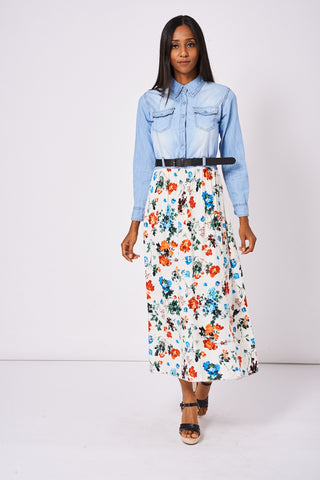 Denim Belted Maxi Dress With Floral Print Ex-Branded