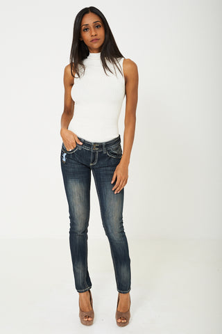 Low Rise Skinny Jean in Dark Blue