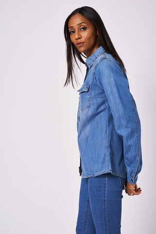 Relaxed Fit Denim Shirt In Medium Blue Wash  Ex-Branded