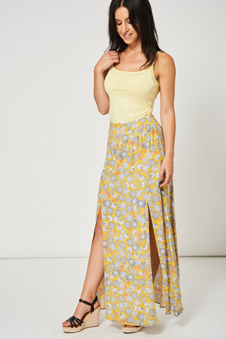Floral Split Front Maxi Skirt Ex-Branded Available In Plus Sizes