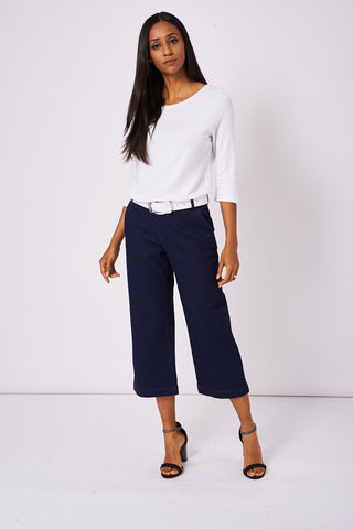 Navy Denim Culotte Jeans Ex-Branded Available In Plus Sizes