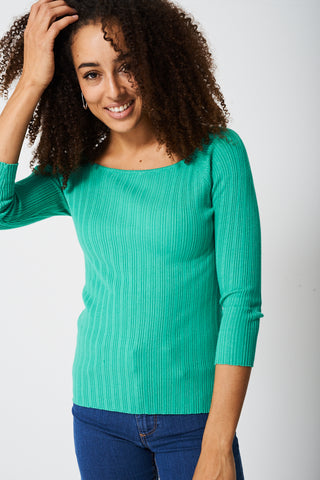 Square Neck Top In Green Ex-Branded