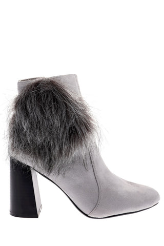 Grey Faux Suede Ankle Boots With Pom Pom Detail