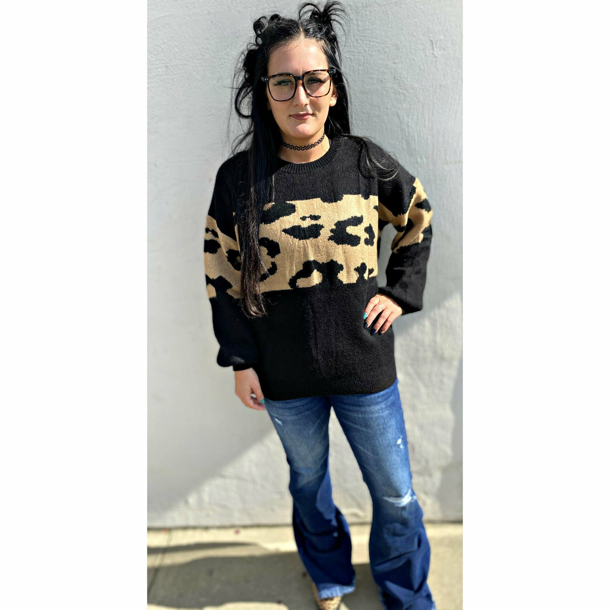 a lil wild Black/Leopard Sweater (regular & plus)