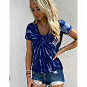 Deep Blue tie dye v neck boutique