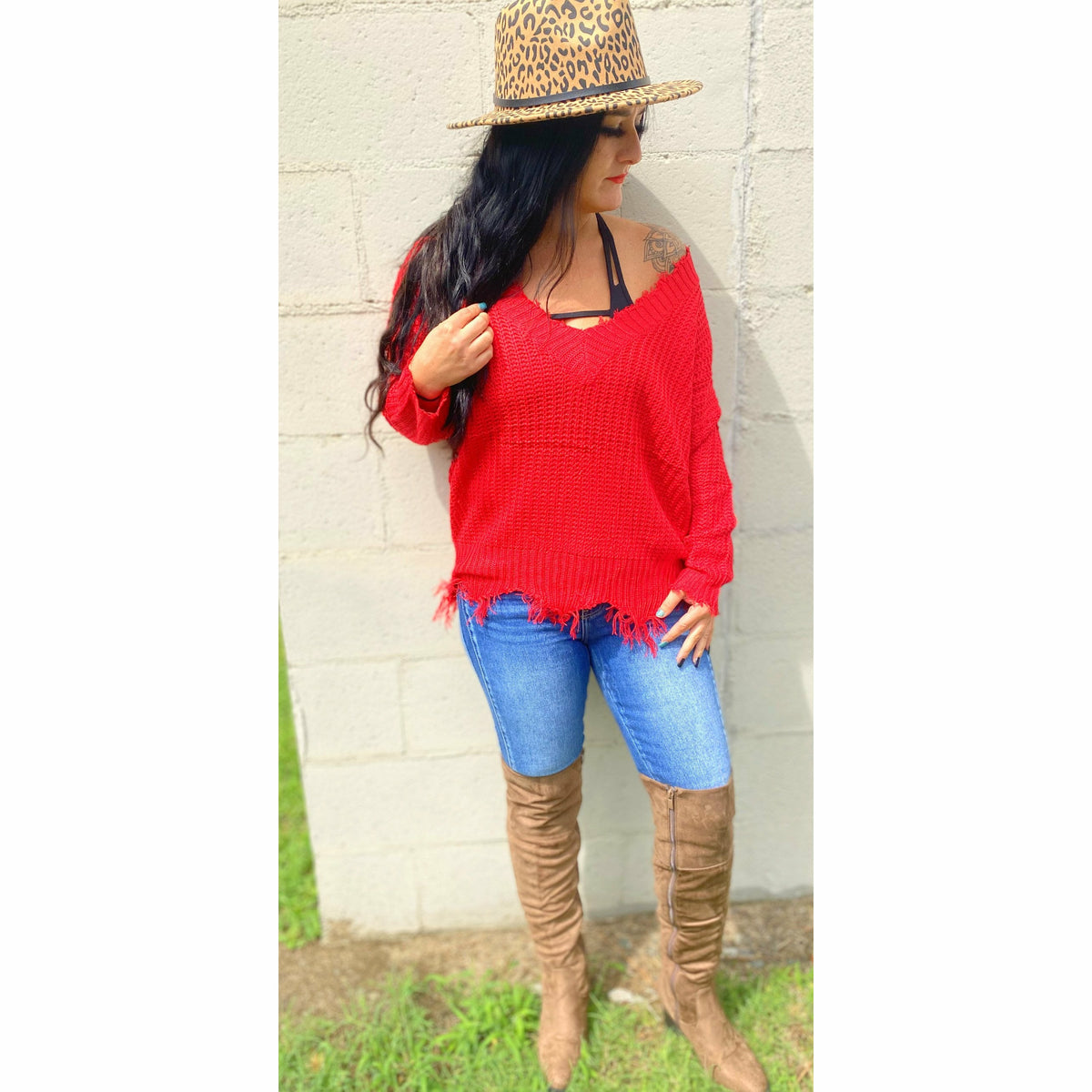 Red Distressed Sweater