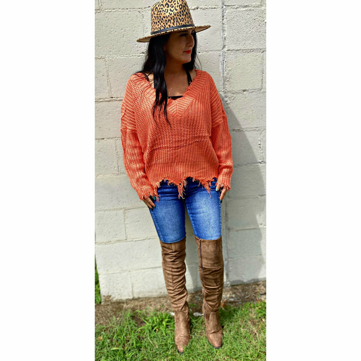 Orange Red Distressed Sweater