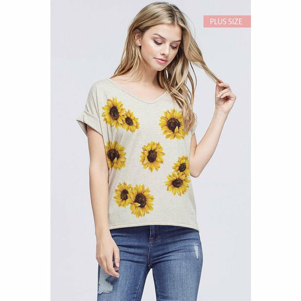 Plus Size Sunflower Top