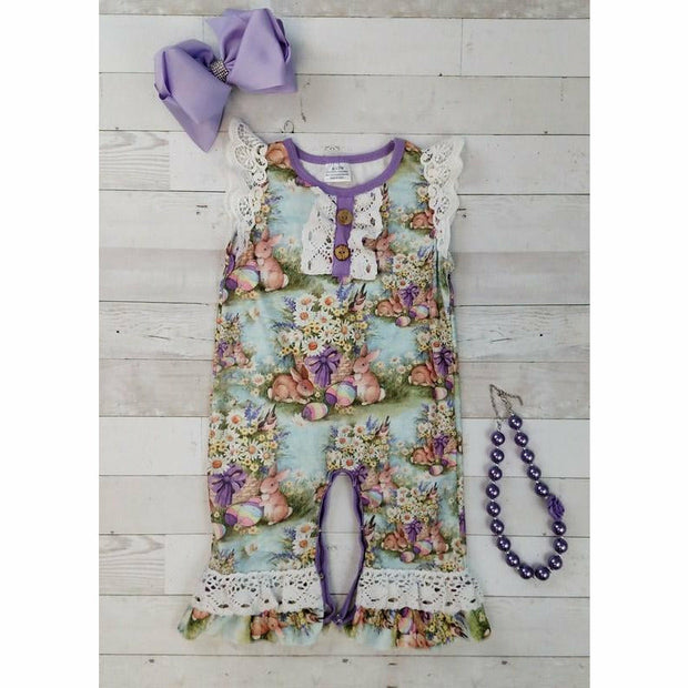 Purple Lace Easter Romper