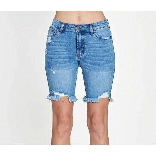 Vibi Midi distressed shorts
