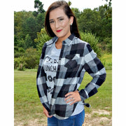 Chloe Plaid Black/White flannel - Gabriel Clothing Company