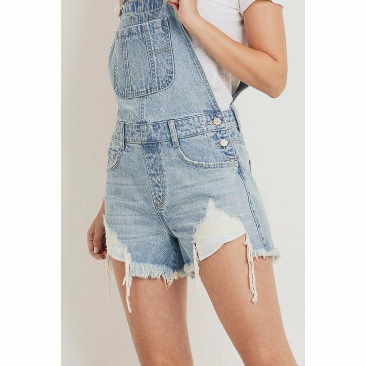 short Distressed overalls