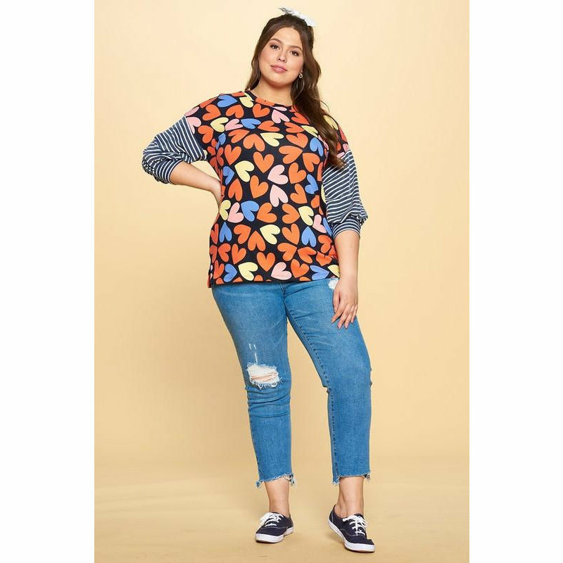 Mila Multi-Print Heart Navy Plus top