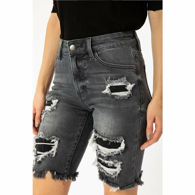 Back in Black Midi Denim Shorts
