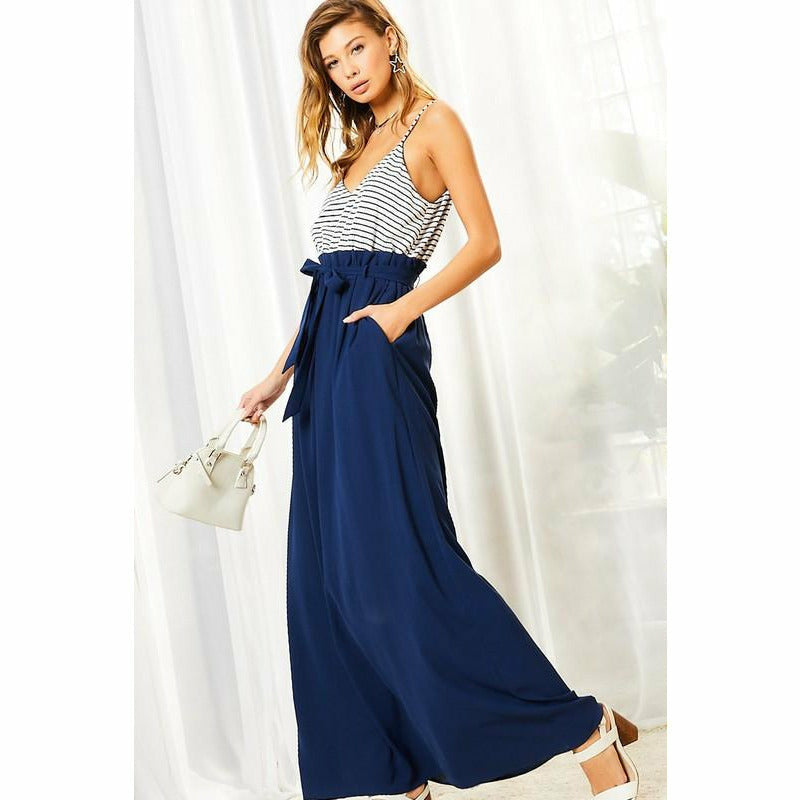 Nellie Navy High-Waisted Maxi Dress
