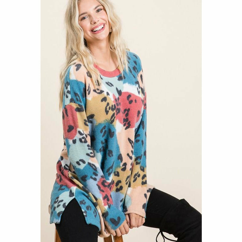 Mendy Colorful Leopard Tunic top