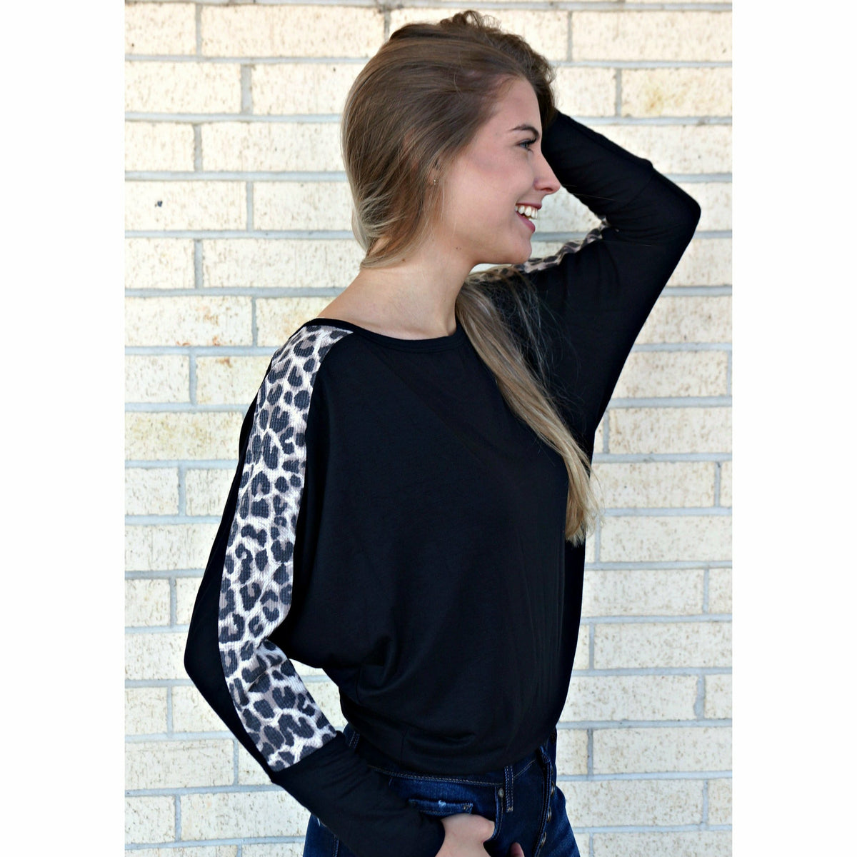 Black Leopard Top