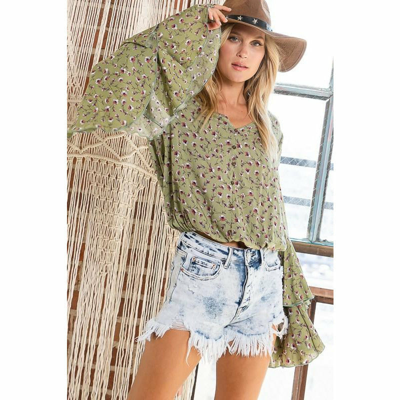 Lilly Olive Floral Print Ruffle Detailed