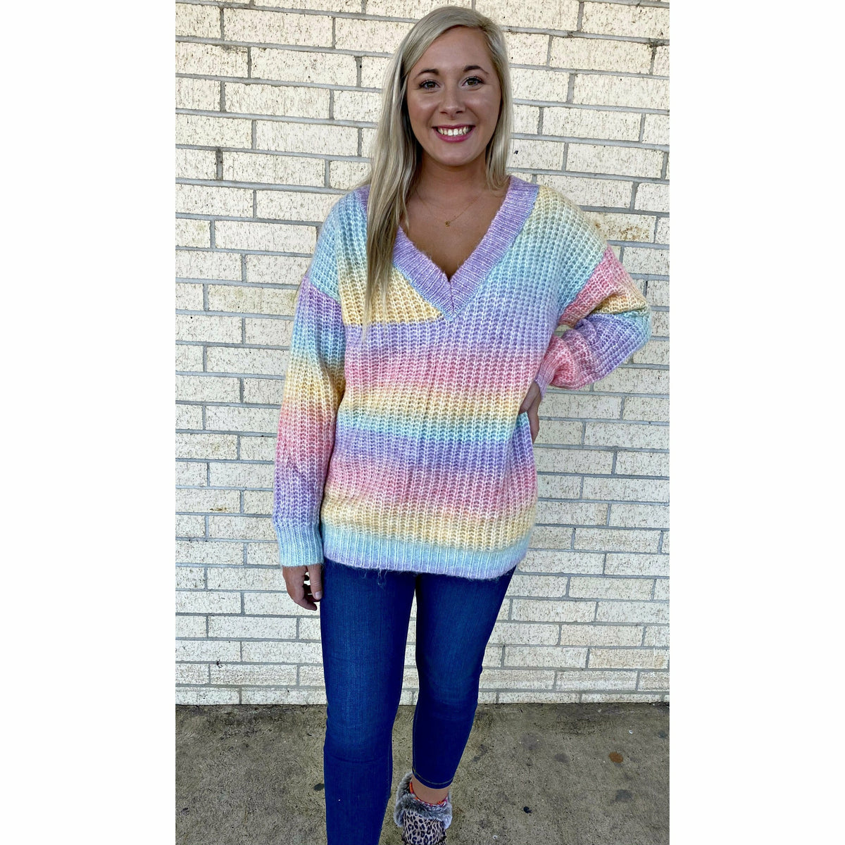 Stripe Babe  v neck sweater