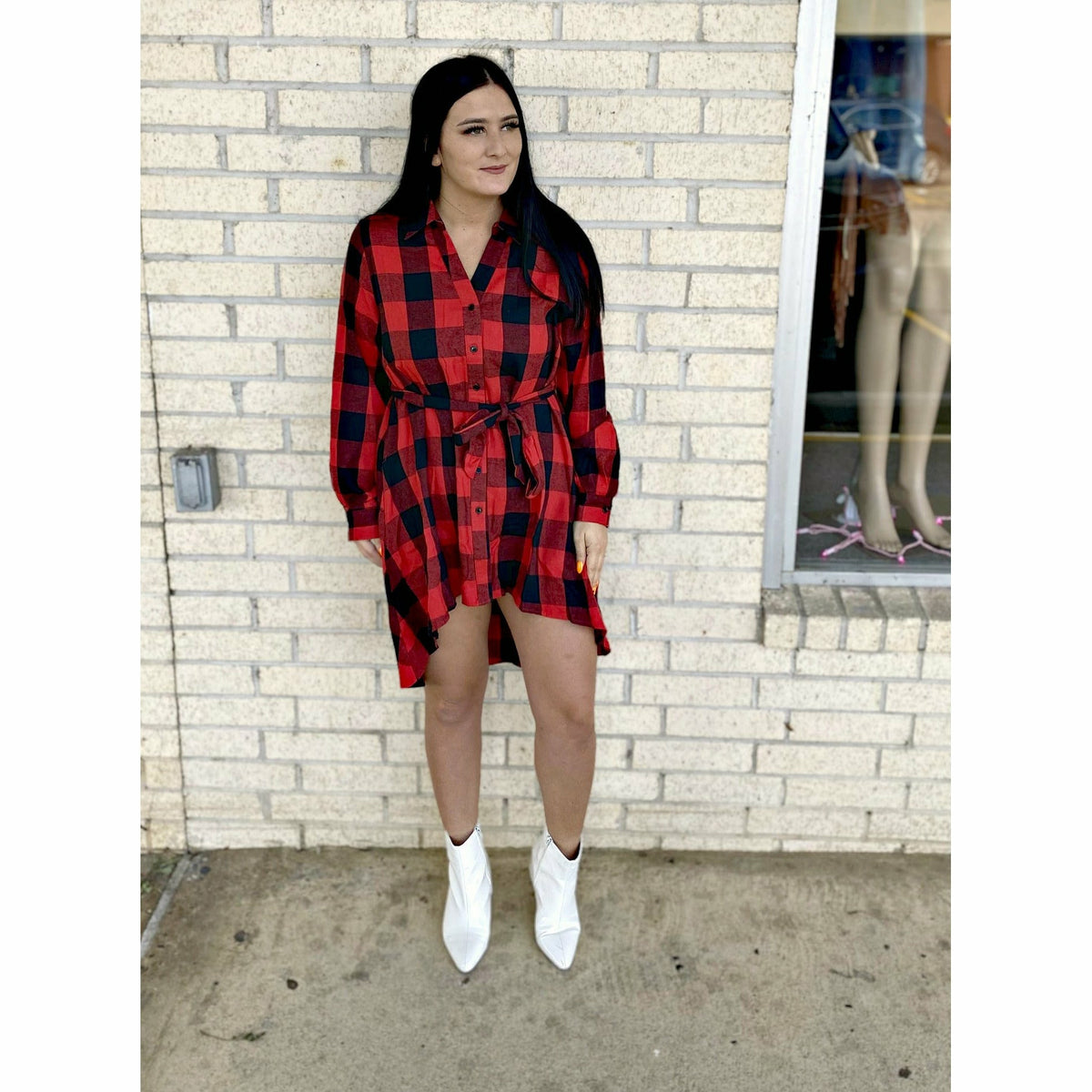 My Hometown Plaid Tie Dress/ Tunic