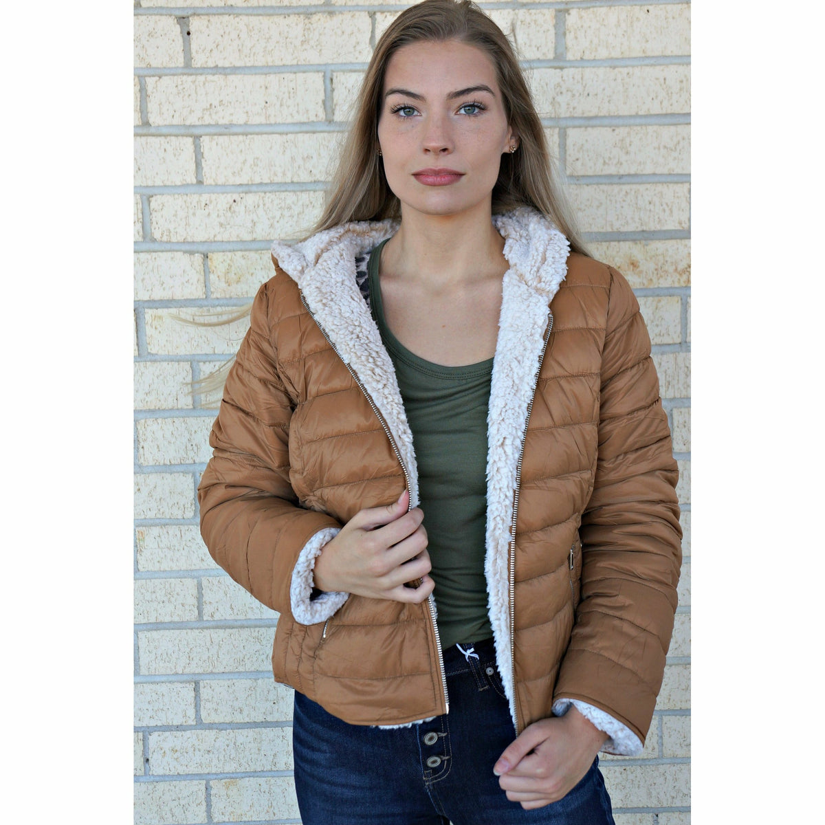 Tanned Sherpa Lined Reversible Puffer Jacket