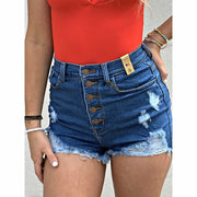It's a vibe button denim shorts