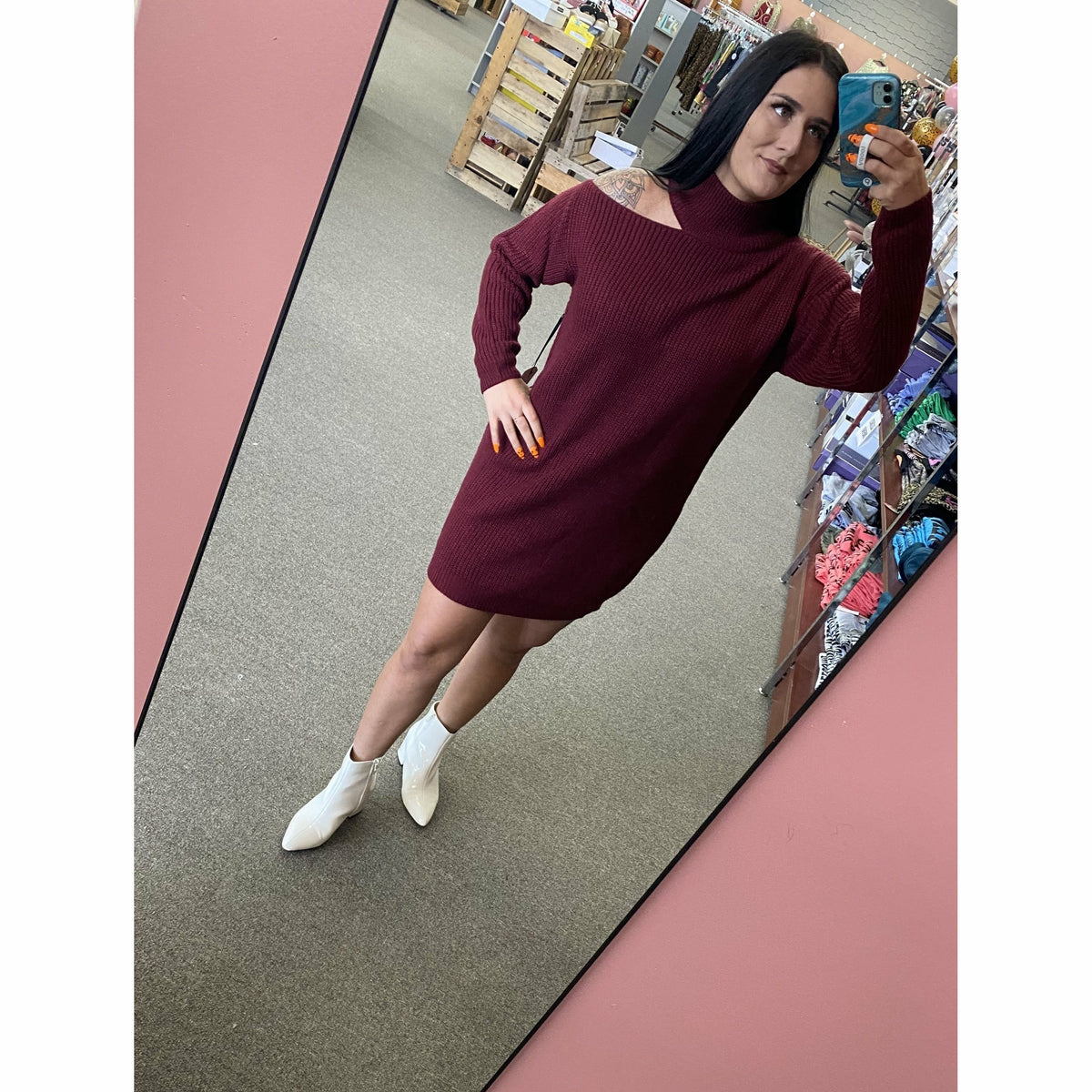 Peep One Shoulder Maroon Sweater Dress
