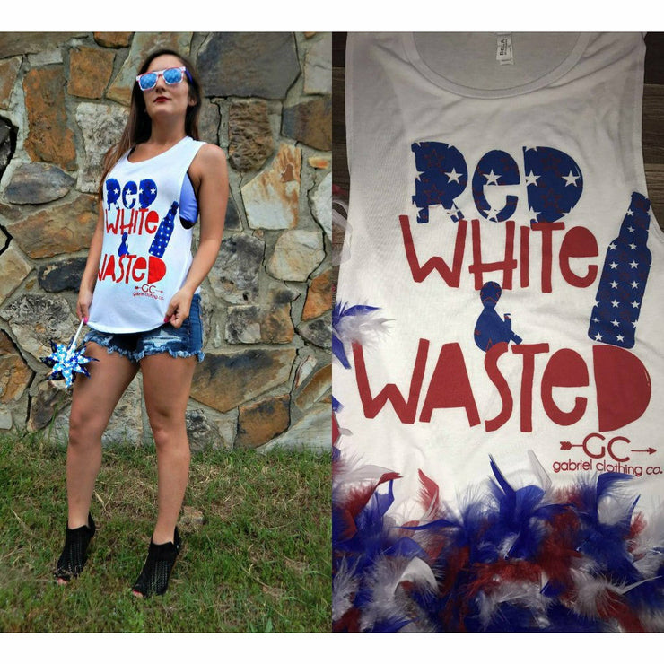 RED WHITE & WASTED Tank - Gabriel Clothing Company