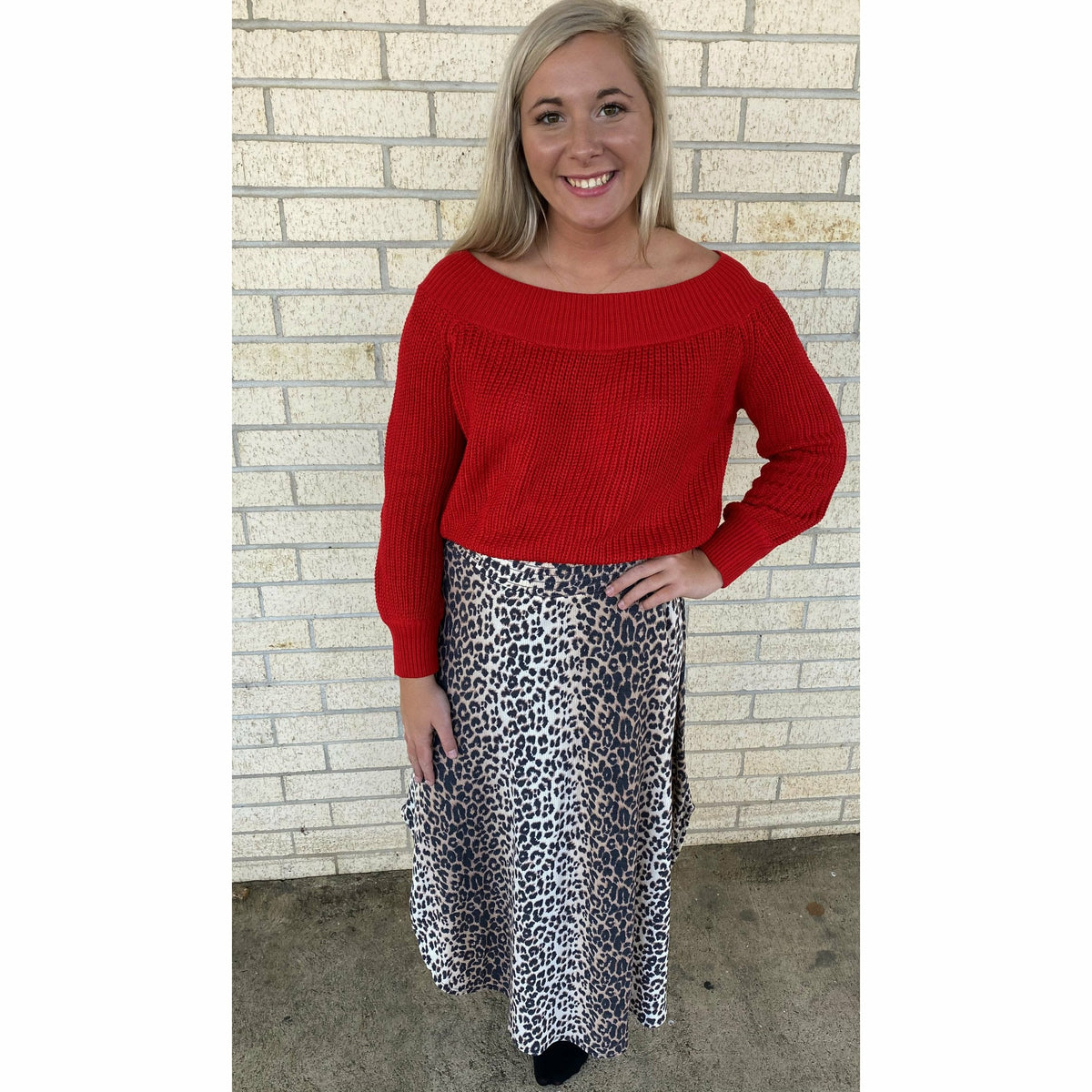 Red Balloon sleeve off the shoulder top