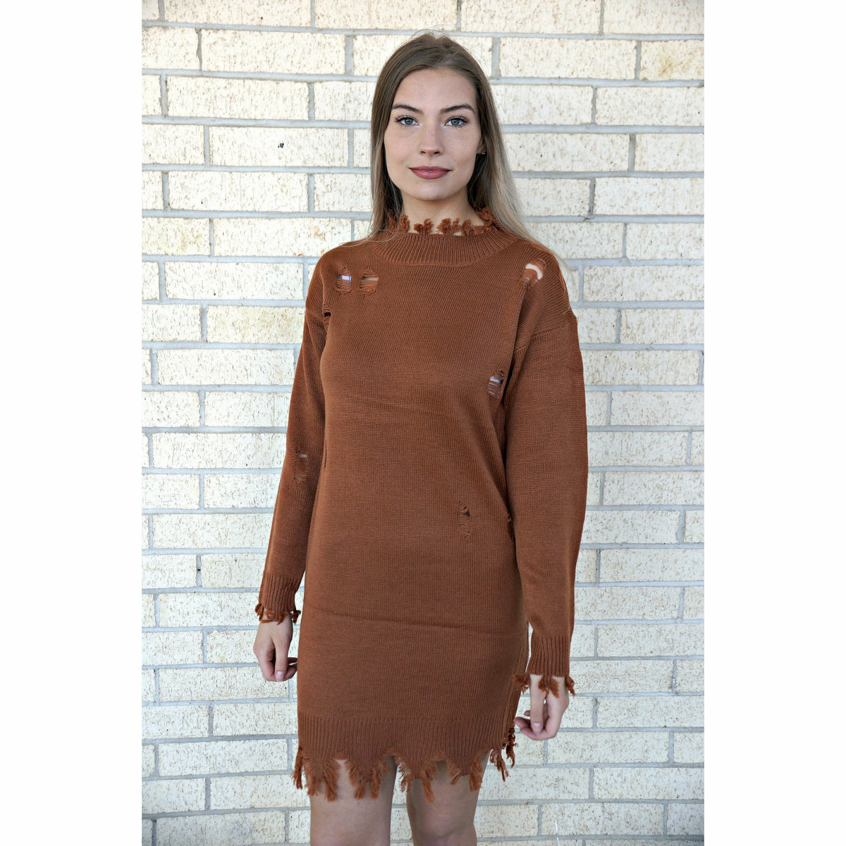 Cognac Distressed Sweater Dress