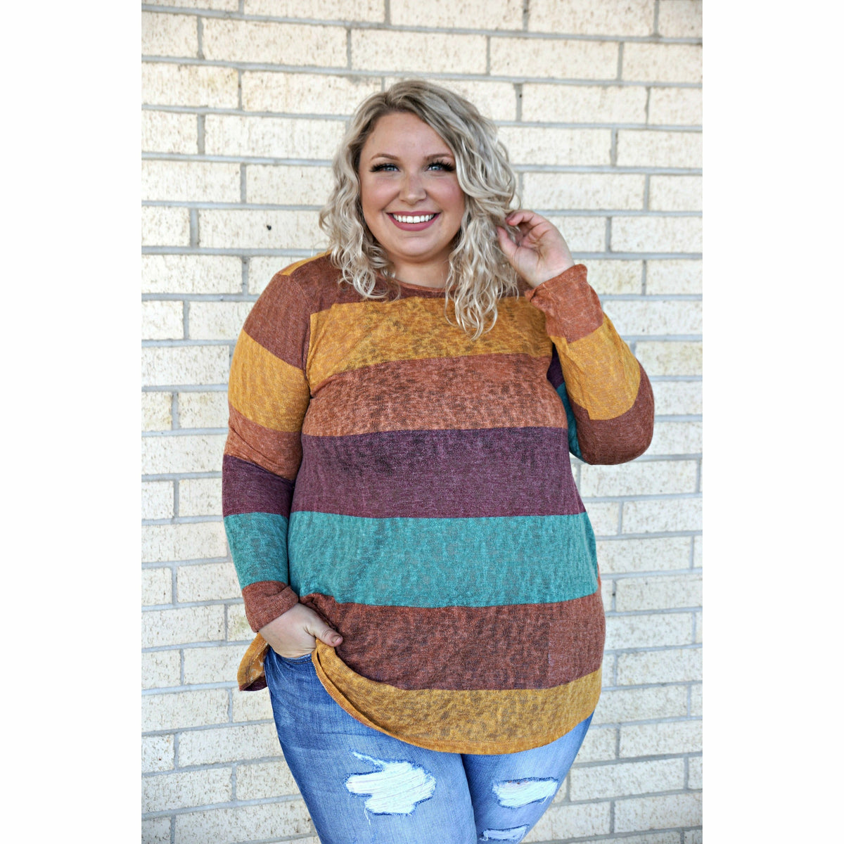 Fall Stripes Plus Top